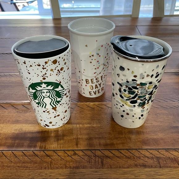 Starbucks Confetti TumblerCup Metallic Modern Gold